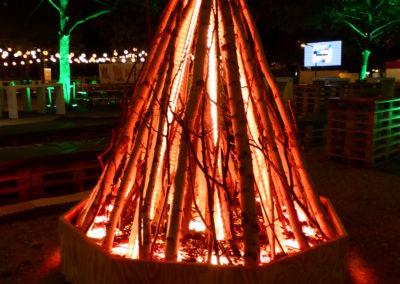 Stilisierte Feuerstelle (Lichtinstallation) Flamelight & Echtholz, Astmaterial