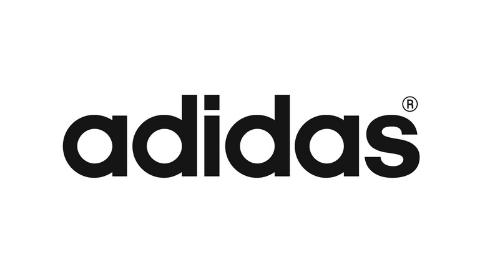 schwarzes Logo adidas auf weißem Hintergrund