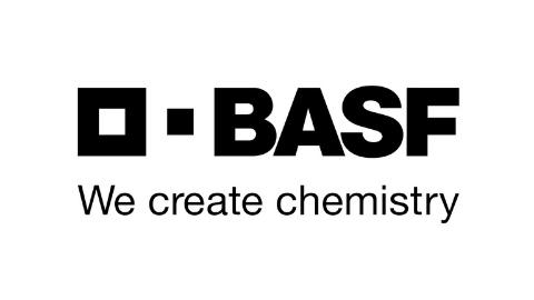 schwarzes Logo BASF We create chemistry auf weißem Hintergrund
