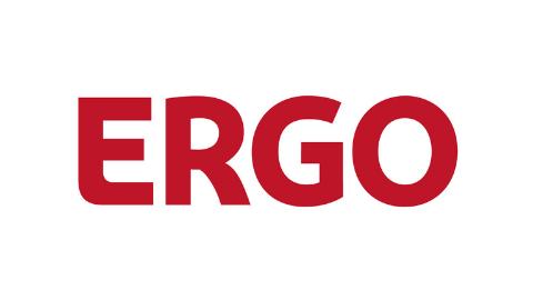 rotes Logo ERGO auf weißem Hintergrund