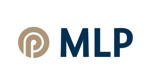braun-blaues Logo MLP auf weißem Hintergrund