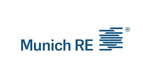 blaues Logo Munich RE auf weißem Hintergrund
