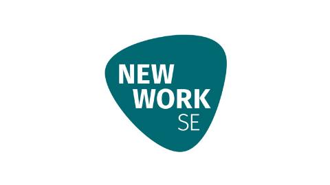 farbiges Logo NEW WORK SE auf weißem Hintergrund