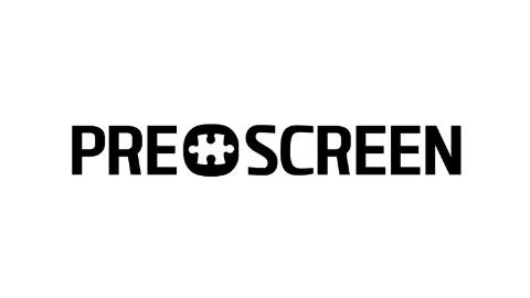 schwarzes Logo PRESCREEN auf weißem Hintergrund
