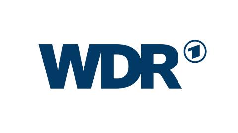 dunkelblaues Logo WDR auf weißem Hintergrund