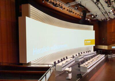 BASF Hauptversammlung, Bühnenrückwand aus wabenartigem weißen Filzstoff, OPERA Leinwand für Auf- Projektion, Tische mit Mikrofone und schwarze Drehstühle für Vorstandsmitglieder