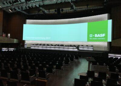 Saal mit großer LED-Wand hinter der Bühne, auf der Bühne steht ein Rednerpult und viele Wortmeldepulte