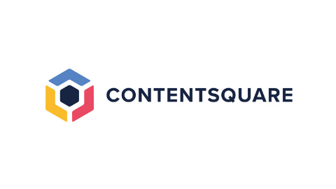farbiges Logoemblem mit Schriftzug CONTENTSQUARE auf weißem Hintergrund