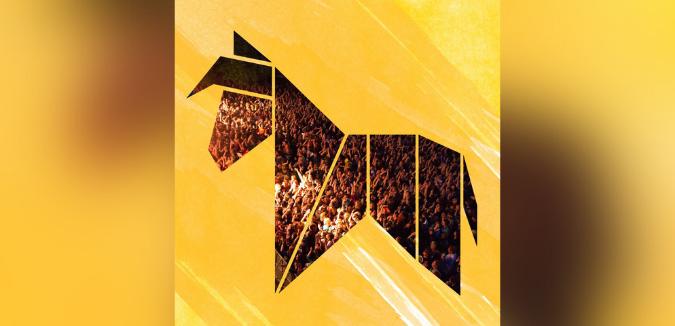 Eselrock Wesel Konzertpublikum Bild in Eselform auf gelbem Hintergrund