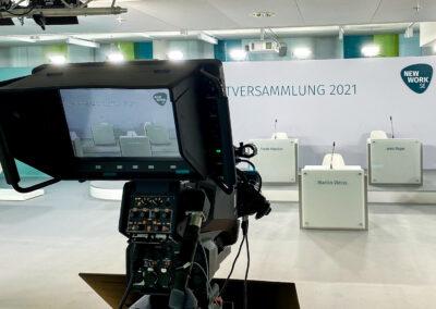 Virtuelle Hauptversammlung, Kulissenbau, Vodergrund Kamera, Rednerpulte