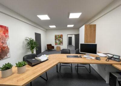 Büro mit großem Eiche Schreibtisch, schwarze Leder-Freischwinger für Kunden, grauer Teppichboden, großer Aktenschrank, brauner Sessel mit Coffeetable, grüne Zimmerpflanzen
