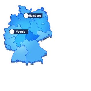 2 markierte Standorte auf blauer Deutschlandkarte