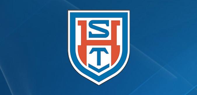 Mannschaftswappen STV Hünxe in rot und blau auf blauem Hintergrund