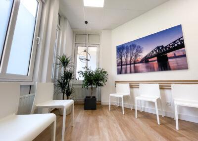 Praxis Wartezimmer mit weißen Stühlen, Holzleisten in Eicheoptik an Wand, stylische Hängelampe, Landschaftsbild mit Brücke, Zimmerpflanzen