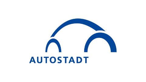 blaues Logo Autostadt auf weißem Hintergrund