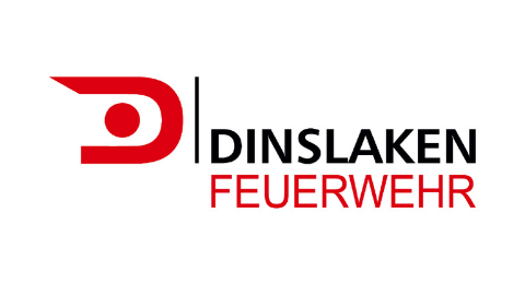 rot schwarzes Logo Feuerwehr Dinslaken auf weißem Hintergrund