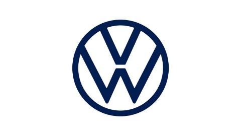 dunkelblaues neues Logo VW auf weißem Hintergrund