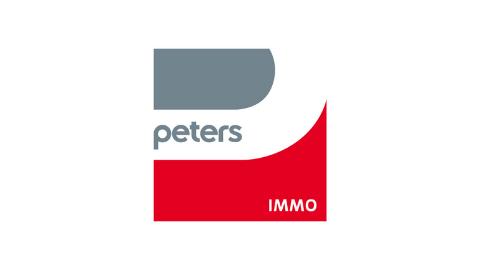 grau, weiß, rotes Logo peters IMMO auf weißem Hintergrund