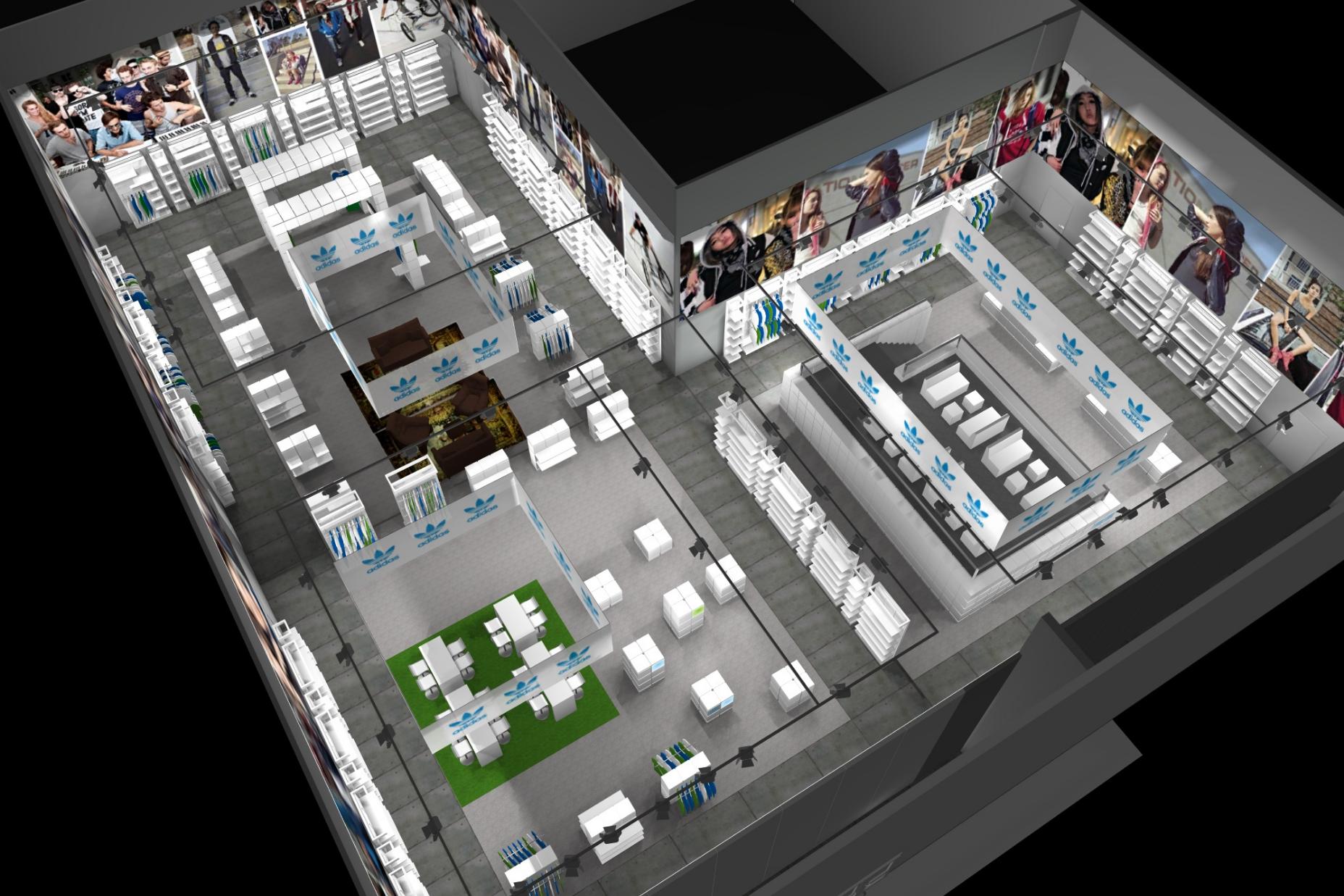 Rendering mit Grundriss eines Einzelhandel Ladenlokals