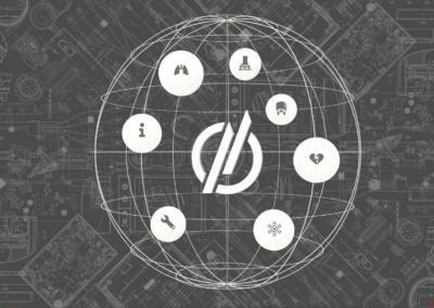 weißes Logo Themenwelten WEINMANN auf grauem Hintergrund, auf dem ein technischer Plan abgebildet ist