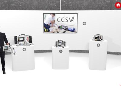 Mann mit med. Instrument in der Hand vor weißem, virtuellen Messestand mit 3 Produktsäulen und einem Monitor, vor grauem Hintergrund, auf dem ein technischer Plan abgebildet ist