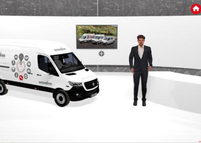 Mitarbeiter vor weißem, virtuellen Messestand mit einem Firmentransportwagen, einem Counter und einem Monitor, vor einem grauen Hintergrund, auf dem ein technischer Plan abgebildet ist, rote Icons (Home und Fragezeichen)